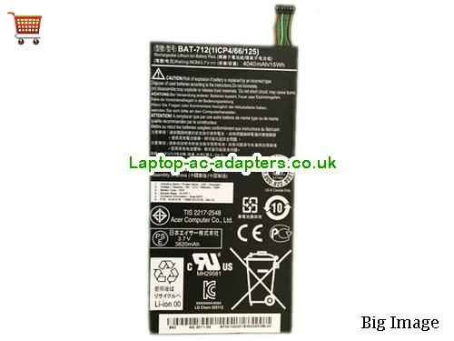 Genuine ACER Tablet type 1S1P BAT-712 battery
