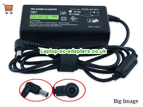 Discount Sony 16v AC Adapter, Sony 16v Laptop Ac Adapter In Stock SONY16V3.75A60W-6.5x4.4mm