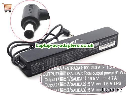 Discount Sony 19.5v AC Adapter, Sony 19.5v Laptop Ac Adapter In Stock SONY19.5V4.7A-long-5V-2USB