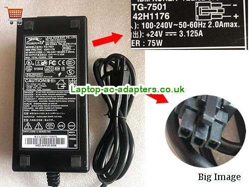 Tiger TG7501 Ac Adapter For IBM 42H1176 PN  24V 3.125A 75W Power Adapter Molex 3Pin YEAR24V3.125A75W-3pin-LF