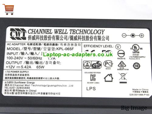 image 3 for  New Genuine Channel Well Technology CWT KPL-065F 12V 5.42A Adapter