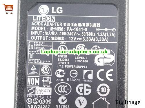 image 4 for  Lg Laptop AC Adapter 12V 3.33A 40W  LG12V3.33A40W-6.5x4.0mm