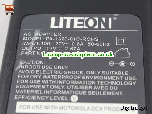 image 3 for  Genuine Liteon PA-1320-01C-ROHS 524475-024 12V 2.67A Ac Adapter For Motorola DCX B29