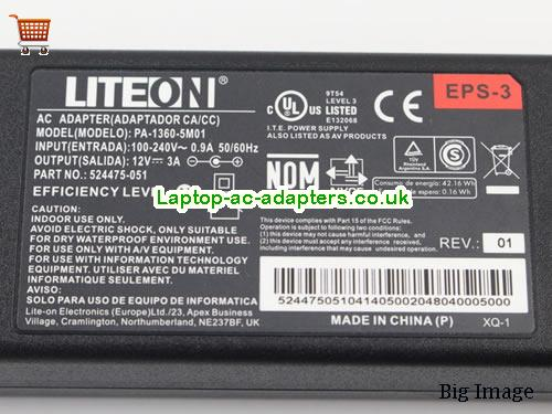 image 3 for  Genuine Liteon PA-1360-5M01 EPS-3 12V 3A 36W Switching Adapter