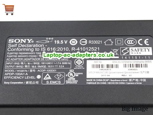 image 3 for  ACDP-100D01 APDP-100A1A Sony 19.5V 5.2A TV AC Adapter For KDL-43W800C