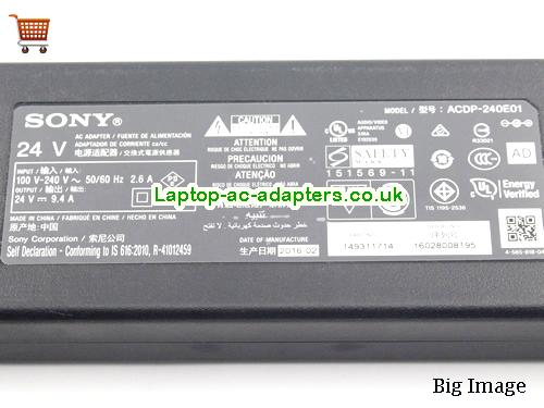 image 2 for  Sony Laptop AC Adapter 24V 9.4A 225W For TV SONY24V9.4A225W-TV
