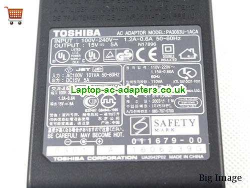 image 3 for  New Genuine Toshiba 15V 6A 75W Ac Adapter