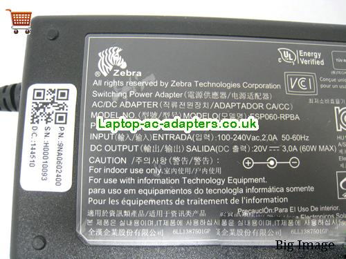 image 2 for  Genuine 20V 3A FSP060-RPBA AC Adapter For ZEBRA TLP-2844 LABEL BARCODE PRINTER